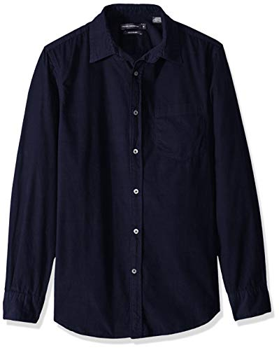 Corduroy Button Hemd (French Connection Herren Long Sleeve Corduroy Shirt Button Down Hemd, Utility Blue Cord, Mittel)