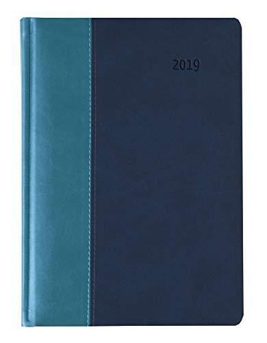 Buchkalender Premium Water türkis/blau 2019 - Bürokalender A5 / Cheftimer A5 - 1 Tag 1 Seite - 416 Seiten - Tucson-Einband