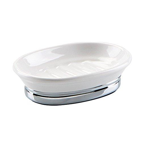 InterDesign York Seifenschale, ovaler Seifenhalter aus Keramik und Metall, weiß/silberfarben (Seifenschale Badewanne Form)