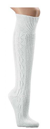 Kniebundhosen- Strümpfe uni-reinweiß gemustert Trachtenstrümpfe Socken Ch-686 (43-46)