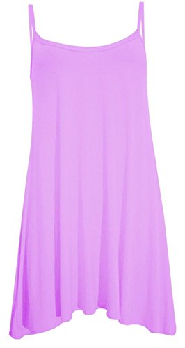 Chocolate Pickle ® Neue Frauen Plus Size Cami Strappy Plain Tops Lange Swing-Kleid 36-54 Lilac