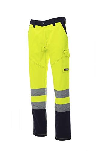 PAYPER Charter Pantalone da Uomo multistagione da Lavoro Misto Cotone Chiusura Zip Alta visibilità Tasche Anteriori Laterali Posteriori (Giallo Fluo/Blu Navy, L)