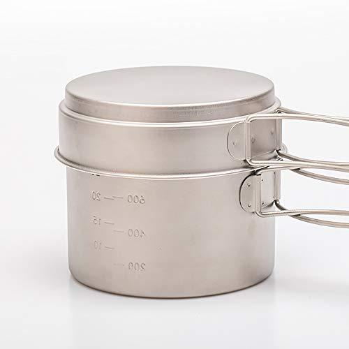 Yang YS Titanium Cookset 2-teiliger Topf und Pfanne für Camping/Backpacking,1100ml+350ml