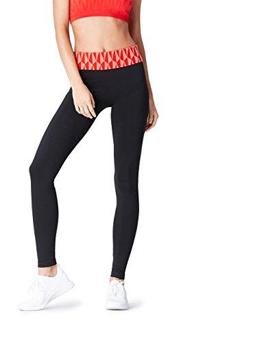 Activewear Sport Leggings für Damen, Schwarz (Red/peach), 38 (Herstellergröße: Medium)