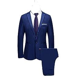 2 Piezas Blazer de Vestir Clásico para Hombre Trajes de Chaqueta de Boda Sólidos Pantalón Elegante Slim Fit Otoño Invierno Un Solo Pecho Retro Inteligente Formal Cena de Negocios Trajes Chaleco