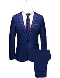 2 Piezas Blazer de Vestir Clásico para Hombre Trajes de Chaqueta de Boda  Sólidos Pantalón Elegante Slim Fit Otoño Invierno Un Solo… 88de44c0e0d