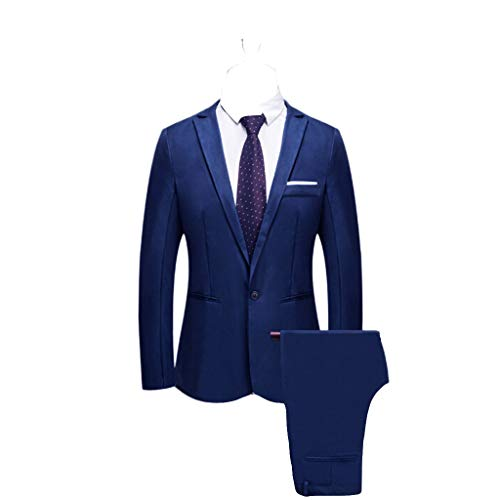 Bibao Herren Anzug 2-teilig Slim Button Fit Hochzeit Dinner Smoking Anzüge für Herren Business Casual Jacke & Hose 8 Farben erhältlich, blau