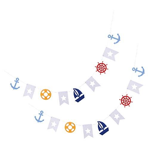 Fenteer Fahnen Banner Girlanden Dekoration für Hochzeit Geburtstag Party - 2pcs