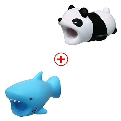 Holeider Telefon-Ladekabel schützt Zubehör Tier Cute Handyhülle Kabel Biss für iPhone Kabel Schnur Handy-Ladeleitung Schützt vor Biege-Pause (Blue Shark and Panda)