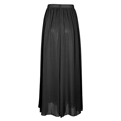 SUNNOW Korean Women Chiffon Boho Plissee Retro Maxi langer Rock-elastischen Bund Tanz-Kleid Black