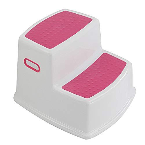 Hvoz Tritthocker mit Zwei Höhen, Toilettentraining, Kinder, 2 Stufen, für Kinder, Kleinkind-Hocker für Toilette, Töpfchen, Training, Badezimmer, Küche rot