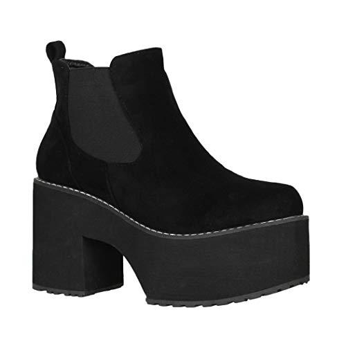 Elara Botines para Mujer con Plataforma Ankle Boots Negro Chunkyrayan Q-76 Black-37