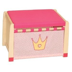 roba 98438 - Spielzeugtruhe Krönchen, Massivholz unbehandelt, gepolsterter Sitz, Front stoffbespannt 36 x 57 x 38 cm (Front Massivholz)