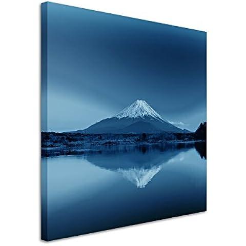 60x 60cm–cuadro de foto lienzo en azul Amanecer Montaña Fuji Japón