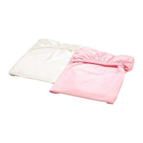 Ikea Len–Sábana bajera para cuna; en blanco y rosa; 100% algodón; (60x...