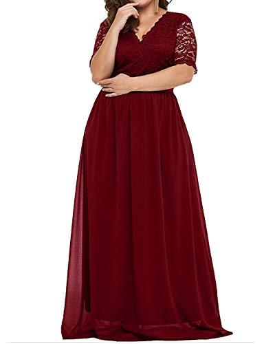 AUDATE Lang Ballkleid Chiffon Mit Spitze Brautjungfernkleider Lang Prom Dress für Damen Wein rot DE 50 Chiffon Prom-abendkleid