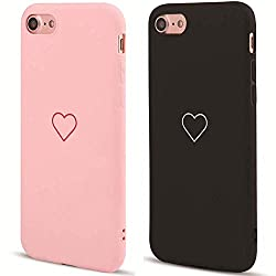 LAPOPNUT 2 Pack Hülle für iPhone 6 Plus/iPhone 6S Plus Cute Love Heart Hülle Matt Soft Silicone Slim TPU Handytasche Flexible Schutzhülle HandyHülle Back Cover