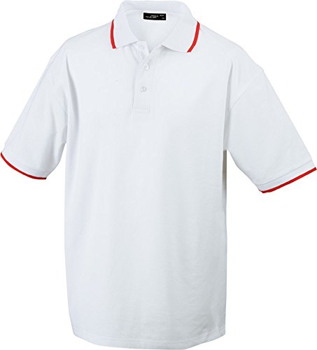 Polo Tipping (S - 3XL) White/Red