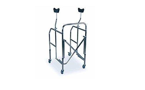 Deambulatore pieghevole in acciaio cromato con supporti ascellari - base regolabile in altezza + sedile imbottito in OMAGGIO - W05723618001