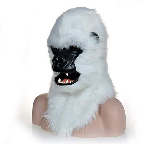 LZY Masken Funny Adult Halloween Kostüme Brown Gorilla Animal Mask mit Mouth Mover Cosplay,Weiß (Farbe Gorilla Kostüm)
