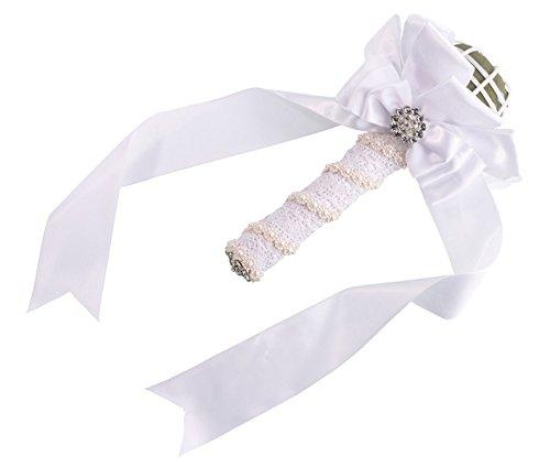Lillian Rose satiné Bouquet Support - Blanc 24,8 cm L x 10,2 cm H x 10,2 cm L