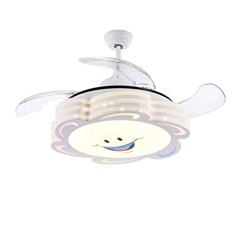 Hardware Combo Kit (Style wei Lüfterlicht Invisible Children Fan Lichtfrequenzkonvertierung Kid Deckenventilator Lampe für Kinderzimmer mit LED-Farbdimmung (Größe : 42 Inch))