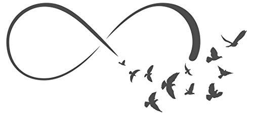 Wandtattoo Unendlichkeitszeichen mit Vogelschwarm Wanddeko Unendlich Ewigkeit