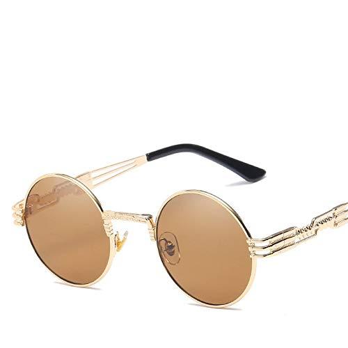 Sonnenbrille Herren Gold Und Schwarz Sonnenbrille Vintage Round Circle Damen UV Gafas De Sol (Lenses Color : Gold Tea)