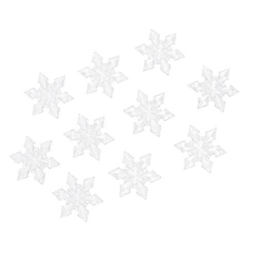 10pcs Acryl Klar Schneeflocke Mit Loch Weihnachten Winter Verzierungen Weihnachten Schmuck Diy - 4.7cm