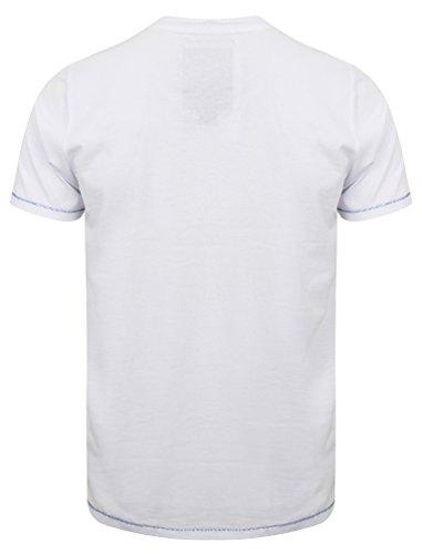 Tokyo Laundry Herren Bailey Springs Gedruckt Rundhals Kurzarm T-Shirt Größe S-XXL Optik Weiß