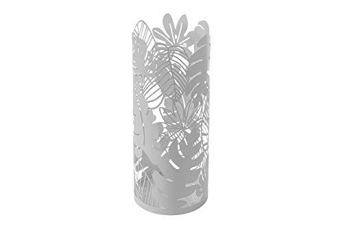 Kobolo Moderner Schirmständer Jungle aus dezent lackiertem Metall trendigen Blatt-Design
