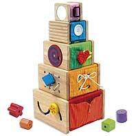 I'm Toy 108871 Multi-Spielkisten-5 stapelbare Holzkistchen mit vielen Möglichkeiten die sensorischen Fähigkeiten zu fördern