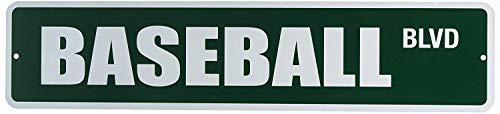 qidushop Baseball BLVD Neuheit Metall Straßenschild Lustiges Geschenk Schild für Garage Hof, Zaun Auffahrt, Dekoration, 10 x 45 cm -