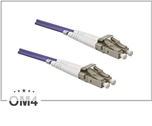 DINIC LWL Kabel OM4, Patchkabel LC/LC Lichtwellenleiter Multimode (50m, violett)