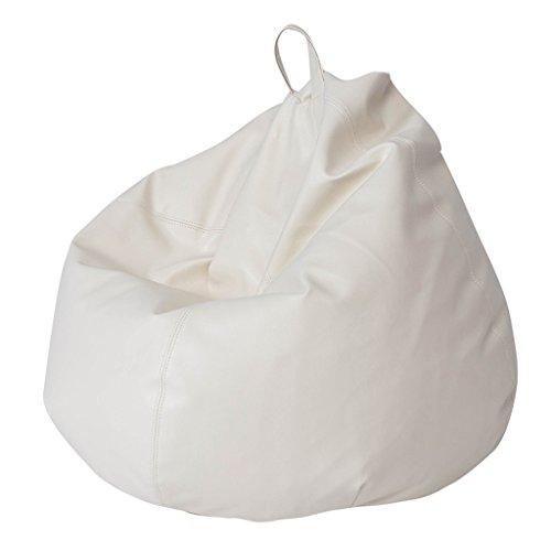 Sitzsäcke Lounger Sofa Bean Bag Wohnzimmer Kleine Wohnung abnehmbare und waschbar Lazy Chair PU Leder (Farbe : Weiß)