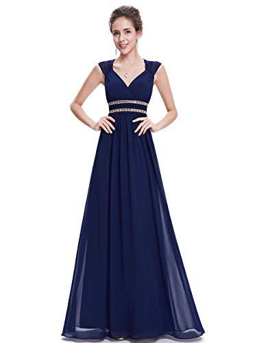 Ever-pretty abiti da damigella donna linea ad a chiffon scollo a v senza maniche stile impero lungo blu navy 36