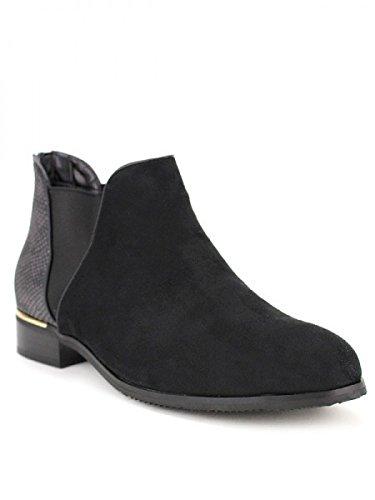 Cendriyon, Bottine Noire Daim LONITA Chaussures Femme Noir