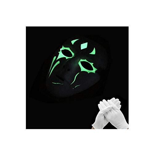 Kyx-gaomouren halloween luminoso fluorescente maschera da ballo uomini e donne dipinti a mano fantasma incandescente danza halloween horror cos,m