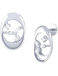 TBZ The Original 18KT White Gold and Diamond Stud Earrings for Women