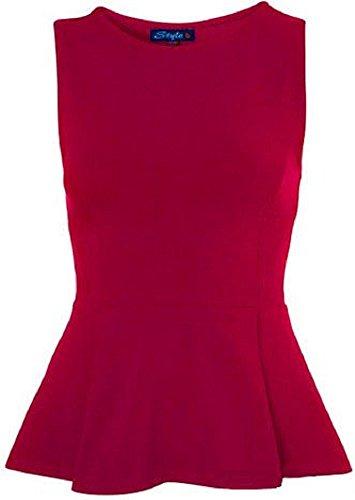 My Fashion Store Haut péplum pour femme, sans manches avec volant évasé, style patineuse Rouge - Cerise
