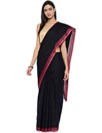 CLASSICATE From the house of The Chennai Silks Women's Kota Doria Saree With Blouse Piece (Ccmysc9466_Black)