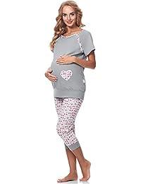 Be Mammy Damen Umstands Pyjama mit Stillfunktion BE20-190