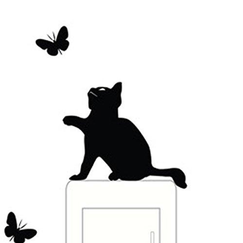 Ningsun diy fumetto della decorazione della parete della del vinile della parete finestra stanza pvc cambia adesivi arti presa di corrente decorative stickers (nero, 145*110mm)
