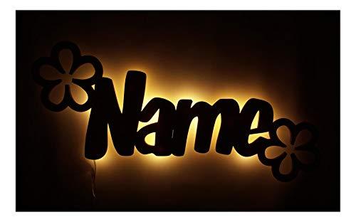 """Schlummerlicht24 Led Deko """" Verblümt - Blumen-Lampe """", Geschenk mit individuellem Namen, als Geburts-Geschenk Taufe oder Kommunion für Jungs Mädchen Baby"""