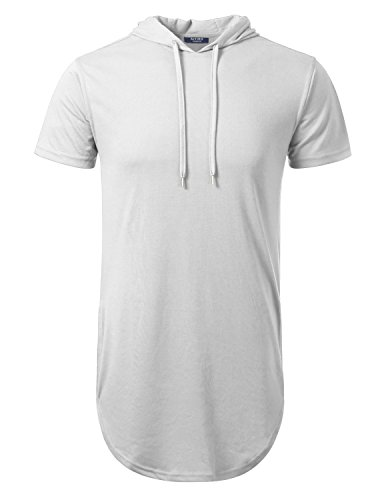 AIYINO Herren Hip Hop Longline Pullover kaufen kurzarm shirt (2XL, Weiß) (Weißes Kapuzen-shirt)