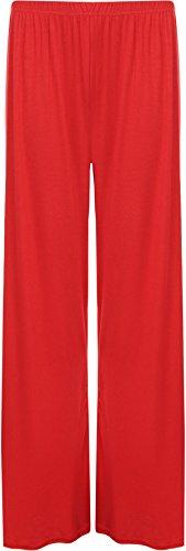 WearAll - Damen Übergröße palazzo weitem bein schlaghosen gummizug - 7 Farben - Größe 36-42 Rot