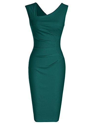 MUXXN Damen Bleistiftkleid V-Ausschnitt Etuikleid Ärmellos Knielang Retro Abendkleid Business Kleid(XL, Deep Green)