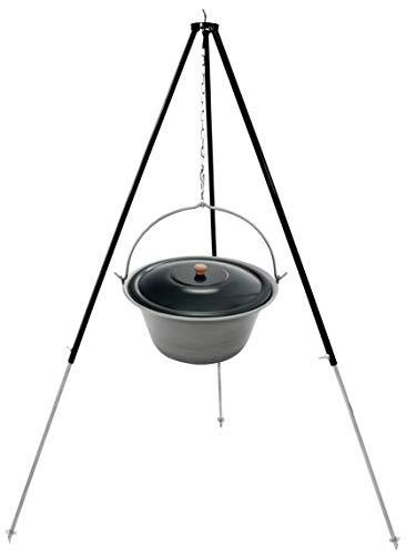 Grillplanet ungarischer Gulaschkessel 22 Liter Gulaschtopf Eisen mit Dreibein-Gestell 180 cm - Teleskopgestell mit Kesselgulasch-Topf - Set Kochkessel mit Deckel