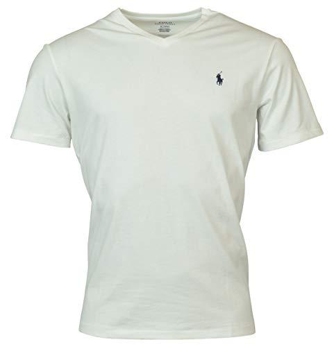 Polo Ralph Lauren Herren T-Shirt mit V-Ausschnitt (Medium, White)