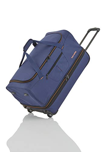 Travelite Basics Trolley Reisetasche auf Rollen 55cm, erweiterbar auf 64 Liter Volumen, in drei Farben Reise-Henkeltasche, 55 cm, 51 Liter, Marine/Orange
